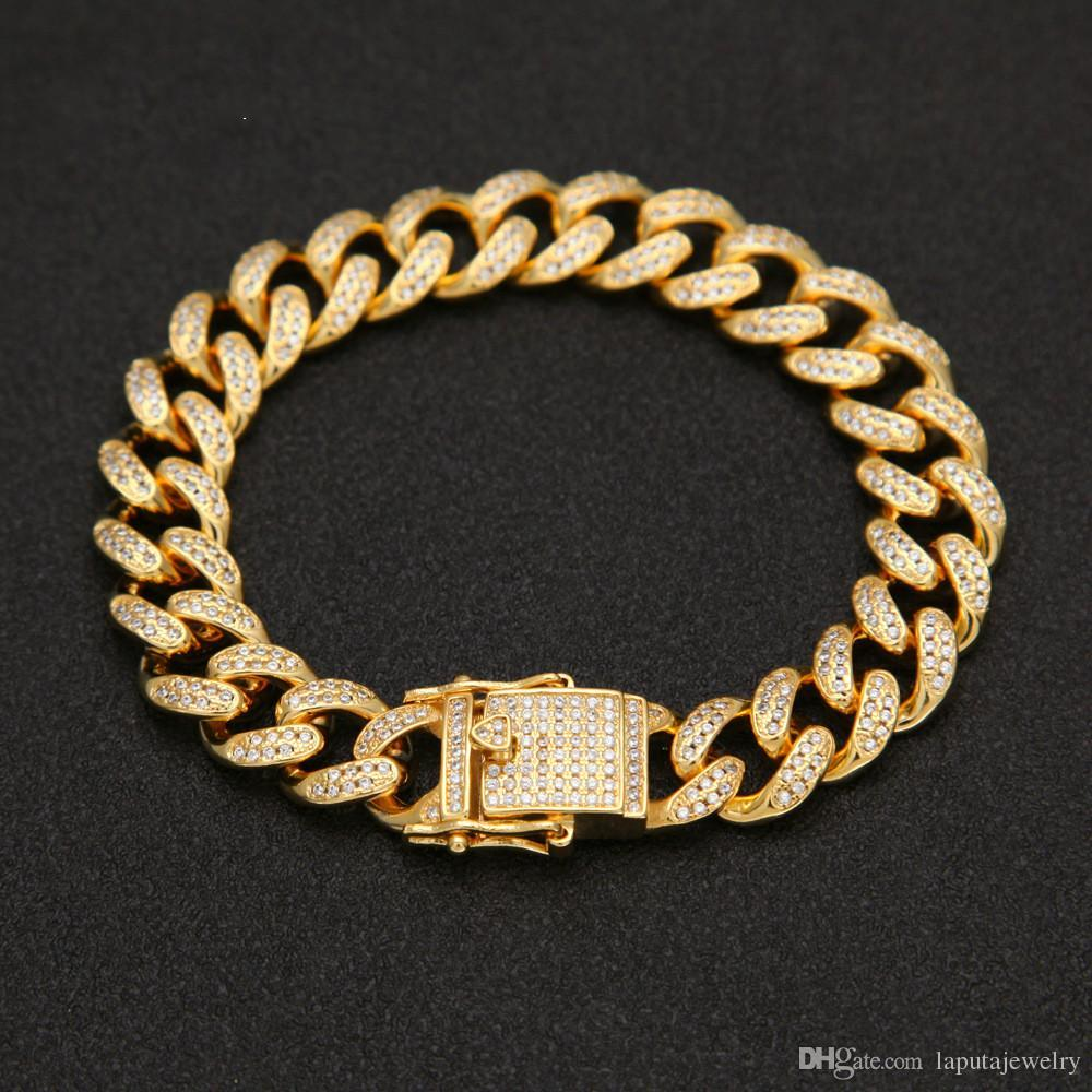 489bda54a6158 2019 24 Top Quality Full Bling Iced Out Mens Miami Curb Cuban Link  Bracelets Copper Lab CZ Stone Clasp Chain Bangles  HP24 From Laputajewelry