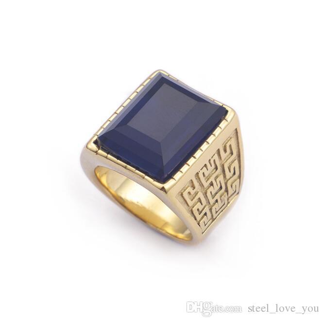 b3d47335fafc Anillo de acero titanium al por mayor de joyería de acero inoxidable con  incrustaciones de anillos de piedra azul para hombres envío gratis