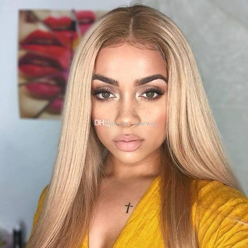 Brazilian Human Hair Honey Blonde #27 Lace Front Wigs Silky Straight Human Hair Wigs With Baby Hair Natural Hairline