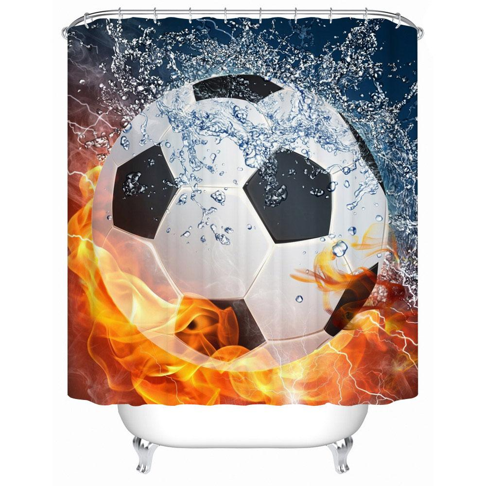 Sport Fan Fire Basketball 3d Fabric Shower Curtain Decor Waterproof Polyster For Bathroom Set Curtains