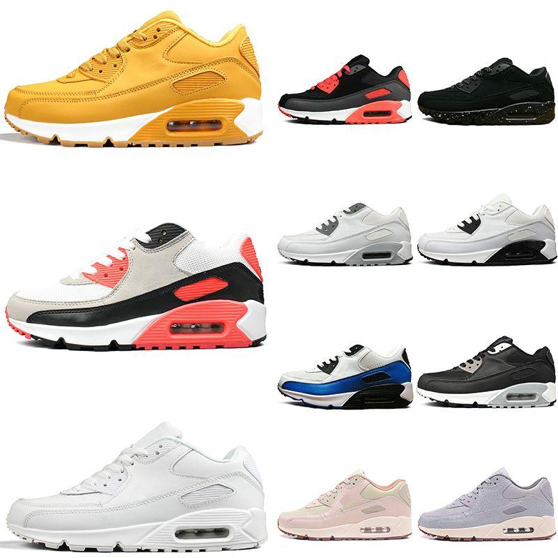 sneakers for cheap 0b441 a1b26 Acheter Nike Air Max 90 Image Réelle Voir Description 90 90 Hommes Femmes  Chaussures De Course Triple Noir Blanc Rouge Cny Oreo Respirant Trainer  Hommes ...