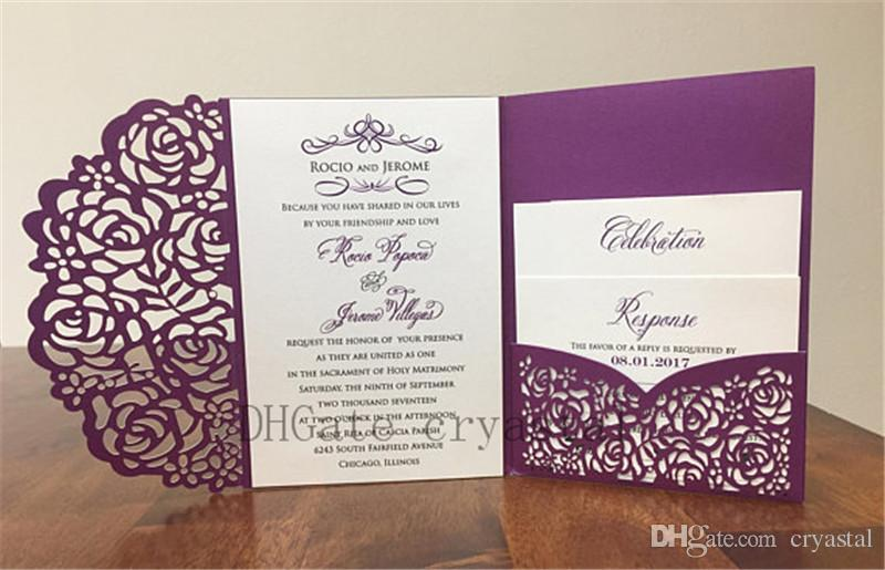 Cheap Wedding Invitations.Gorgeous Purple Shimmer Laser Cut Wedding Invitations Pocket Wedding Invitation Laser Cut Jacket Purple Shimmer Laser Cut Many Colors