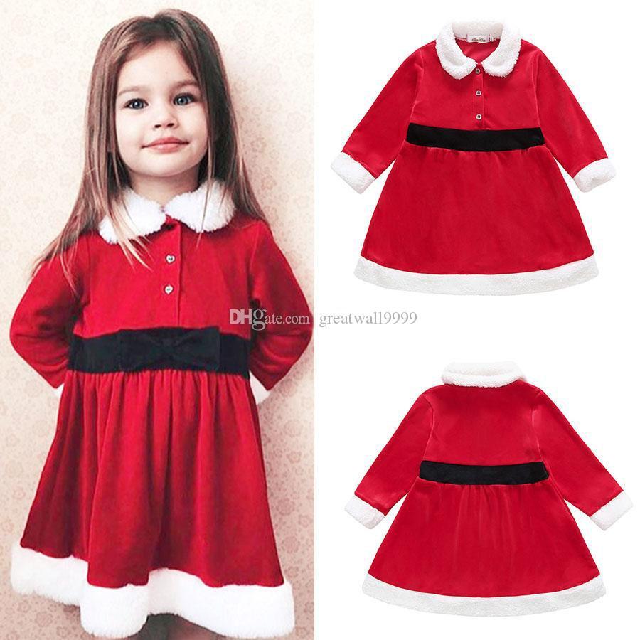 nuovi arrivi gamma esclusiva colore attraente Neonate rosso Natale vestito INS bambini Natale principessa abiti Primavera  Autunno Fashion boutique Abbigliamento per bambini
