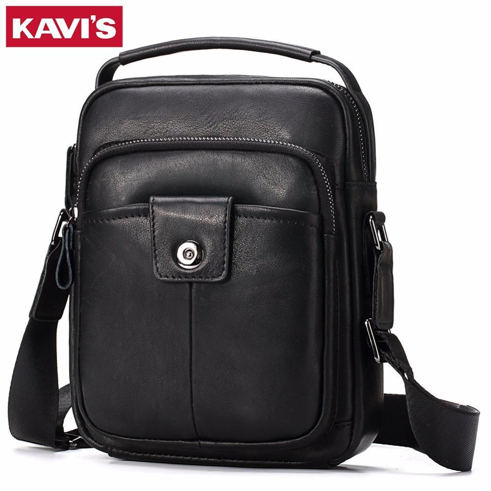 185433b7ef9d KAVIS Cowhide Genuine Leather Messenger Bag Men Shoulder Crossbody ...