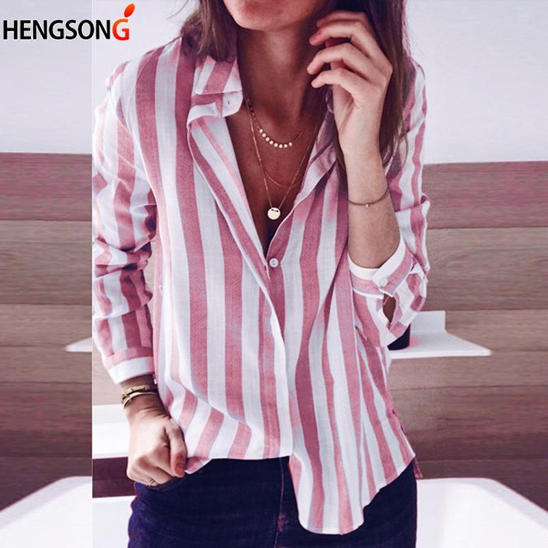 1bc169730 2019 Spring Autumn Shirts Striped Blouse Women Tops Long Sleeve Turn Down  Collar Button Casual Shirt 2018 Fashion Stripe Tops Female From Mapnature