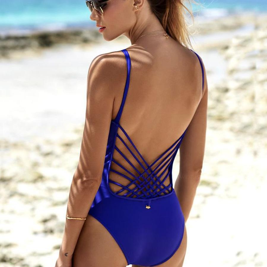 8554b37f74 One Piece Swimwear Cut Out Swimsuits Bodysuit Sexy Women Summer ...