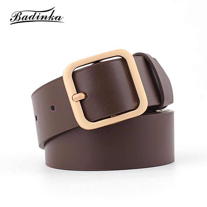 d7e60c6fca3da Badinka 2018 New Designer Ladies Wide Black White Genuine Leather Waist Belt  Womens Gold Silver Buckle Belts For Women Jeans Cheap Designer Belts Batman  ...