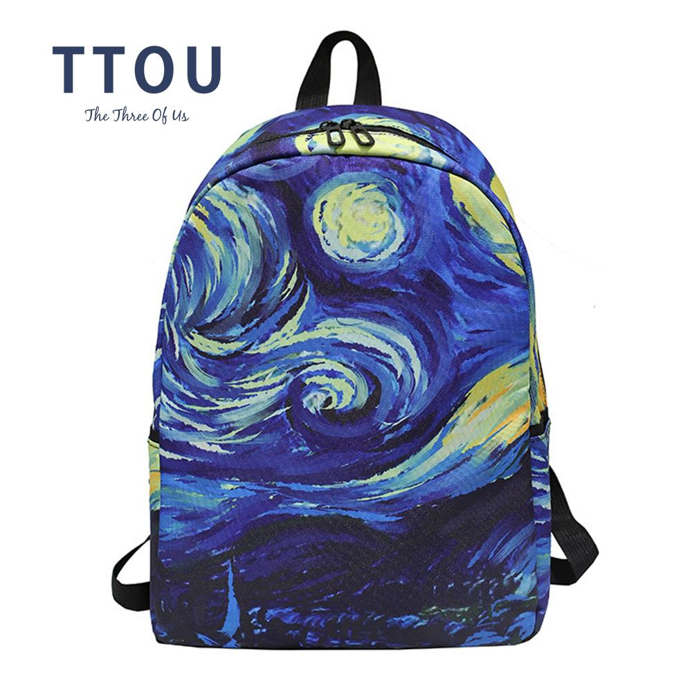 TTOU Landscape Art Oil Painting Backpack New Teenages Big Capacity School  Bag Girls Cute Cheap Canvas Travel Bag College Backpacks Girl Backpacks  From ... bf614f93245c