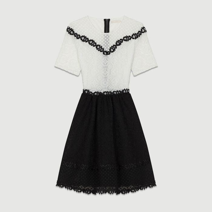 b96f6bb1cff Satın Al 2018 Fransa Beyaz Siyah Kısa Kollu Yuvarlak Yaka Dantel Lady Tek  Parça Elbiseler Kadın Elbise MBL920 Maj Güz Sonbahar