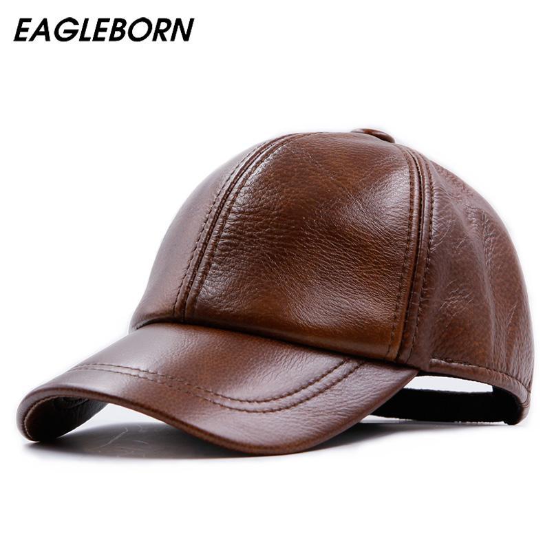 9709d90b Fashion Design Leather Hat Man Baseball Cap Women Hats Keep Warm Casual  Winter Caps 3 Colours Brown sheepskin cap