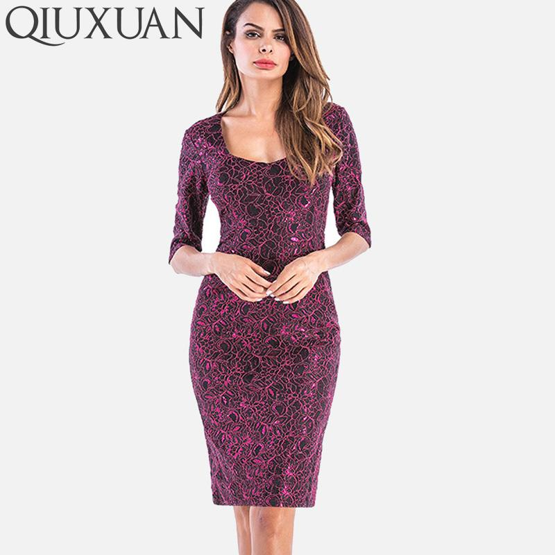 QIUXUAN Plus Size S-4XL Jacquard Lace Bodycon Dress 2018 Summer Fashion  Half Sleeve Square Collar Split Back Metallic Dress