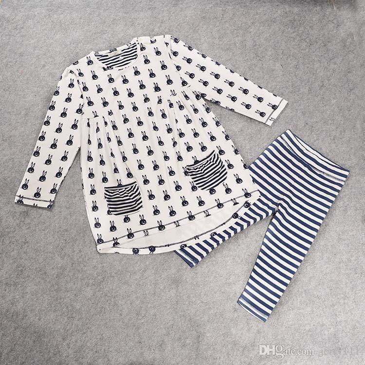 Baby Girls Clothing Sets Cute Toddler Cartoon Rabbit Print Pocket Dress Striped Leggings Kids Clothing Set LA632