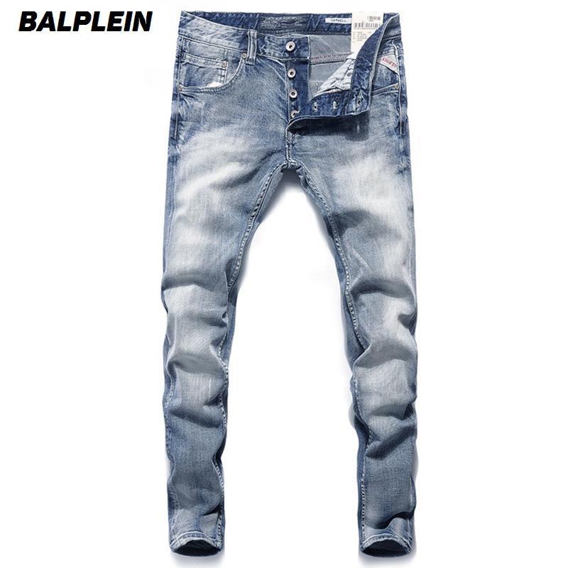 c94caeba9abff Italien Vintage Designer Hommes Jeans Bleu Couleur Slim Fit Boutons Denim  Pantalon Marque Jeans Hommes Mode Classique Street Homme