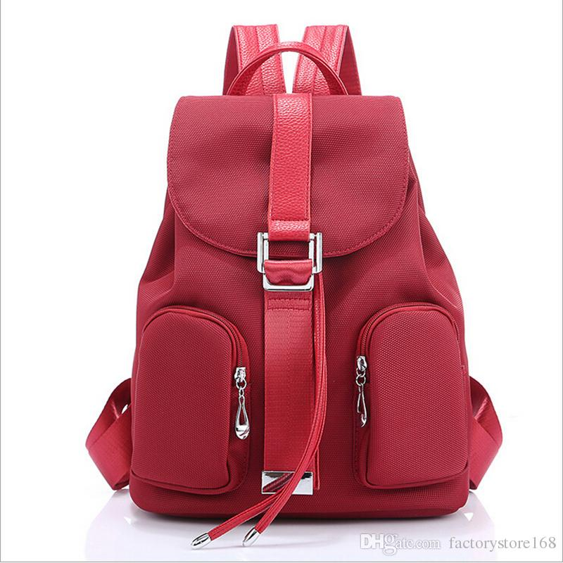 New trendy solid color women lady backpack bags drawstring school backpack canvas designer backpack with multi pockets