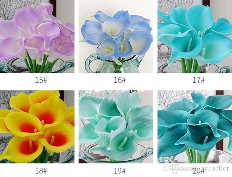 Commercio all'ingrosso 100 pz Real Touch Decorativo Fiori Artificiali Calla lily Wedding Bouquet Artificiale Sposa fiori per Feste 20 colori
