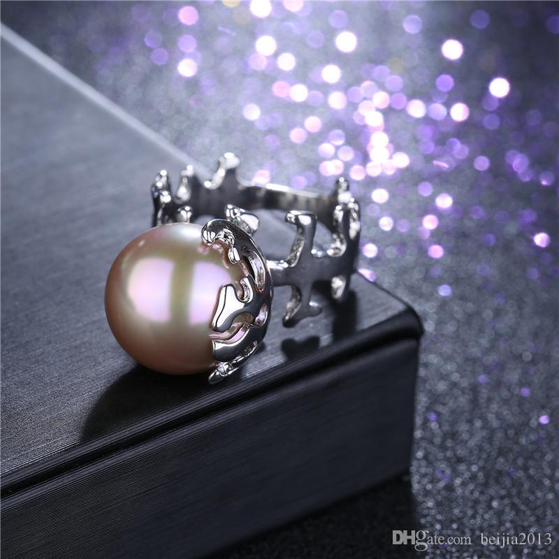 Личность уникальный модный кольцо белое золото 3D Fishbone жемчужное кольцо женщины женский Кристалл обручальные кольца подарок мода заявление ювелирные изделия