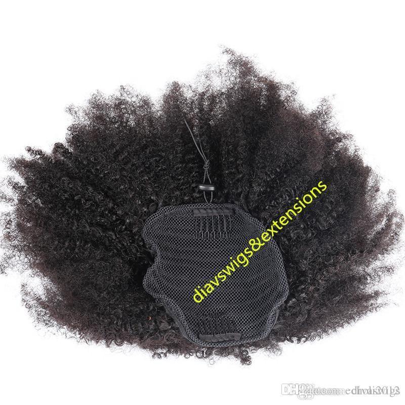 Clip en extensión de cabello humano 4c peinados de cola de caballo rizados afro 1 unids rizado cordón rizado cola de caballo virgen brasileña cabello humano puff 140g