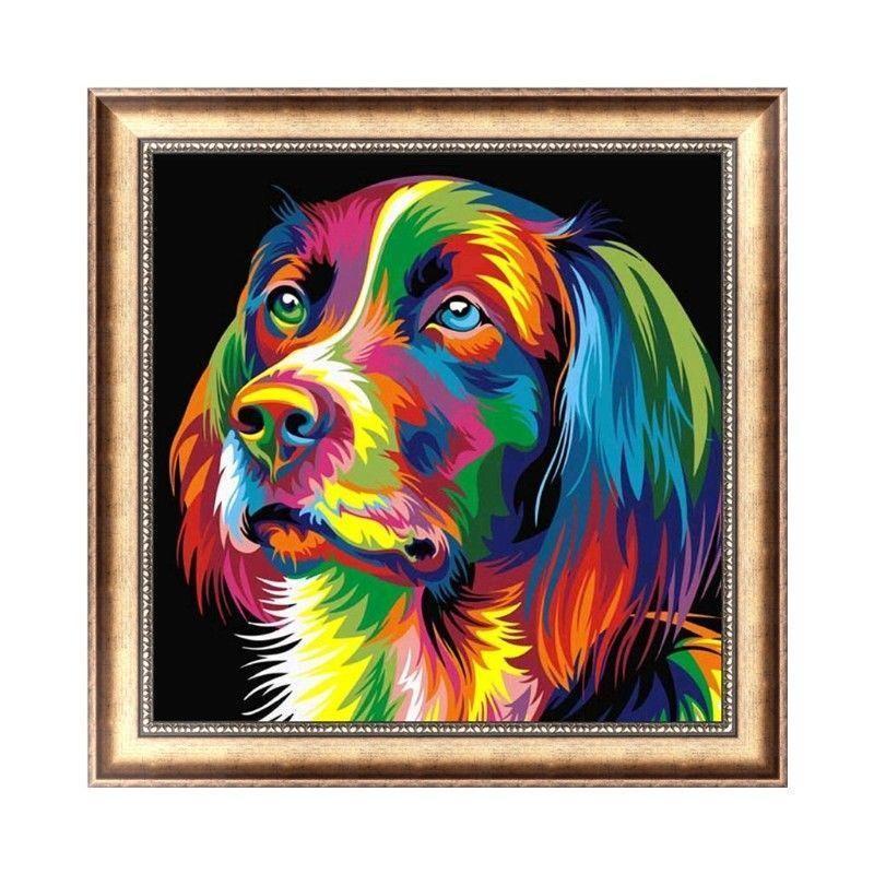 Satın Al şımarık Köpek 5d Elmas Yuvarlak Rhinestone Nakış Boyama