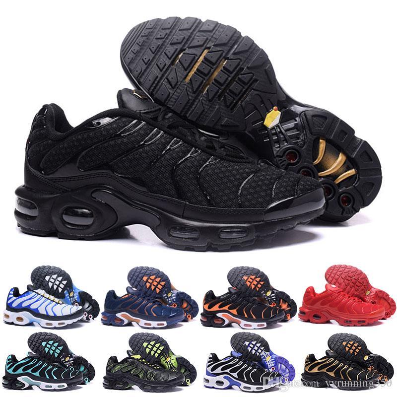 brand new 26309 1535d Acheter Nike Tn Plus Air Max New TN Plus Chaussures De Course Classique  Chaussures De Course En Plein Air Tn Noir Blanc Sport Shock Sneakers Mens  Requin ...