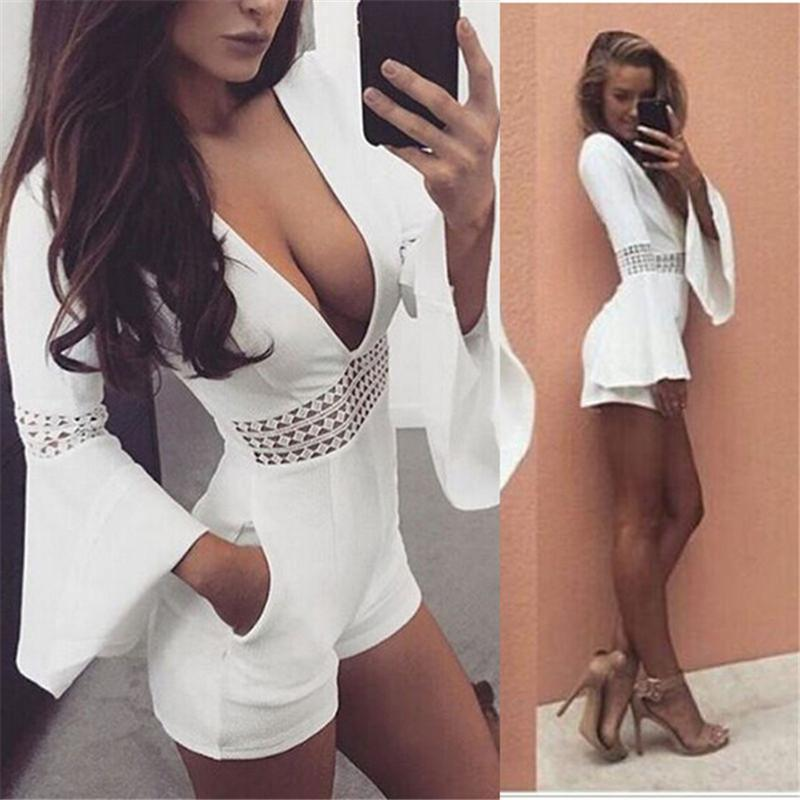 d7fa049bc3 2019 Women Summer White Short Sexy Rompers Jumpsuit Deep V Neck Long Flare  Sleeve Beach Party Playsuits Waist Crochet Lace Overalls Y1891806 From  Zhengrui05 ...