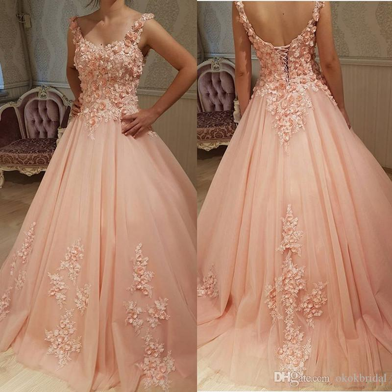 Peach Ball Gown Prom Dresses 2019 Handmade Flowers Lace Appliques ...
