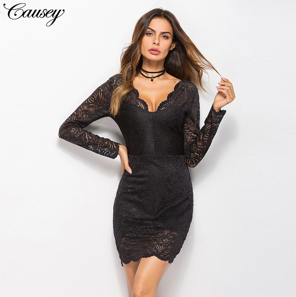 401596f31dfe Summer Lace V Collar Bodycon Dress Fashion Long Sleeve Sexy Backless Night  Club Skirt Women Casual Dresses Lace Outfits Junior Cocktail Dresses From  Yushaoe ...