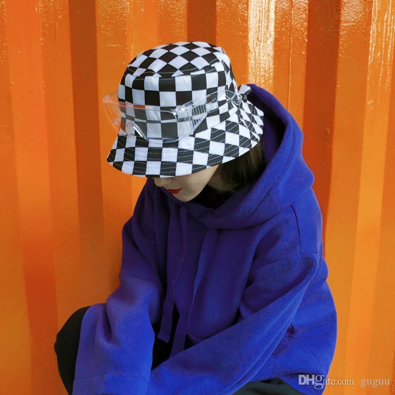 c5dd6e2d9 men checkerboard fishing hats goggles cotton Harajuku street dance bucket  hat black white plaid unisex social flat hip pop caps petten dames
