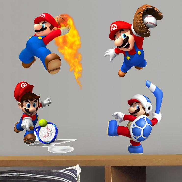 Super Mario Wall Decal DIY Cartoon Mario Wall Sticker for Kids Room and  Nursery Decoration Removable Game Room Decor