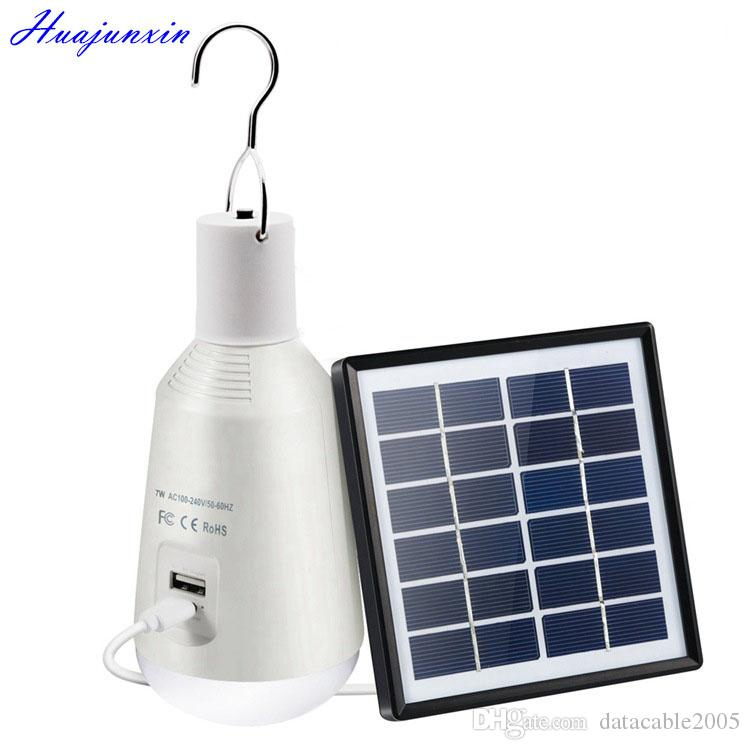 LED Camping Light Bulb Solar Panel and USB Rechargeable Portable Outdoor  Solar Energy Lamp Lighting for Emergency Hurricane Power Outage