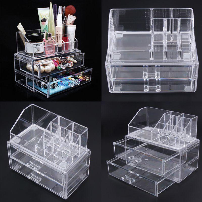 13f5735ba683 Portable Transparent Makeup Organizer Storage Box Acrylic Make Up Organizer  Cosmetic Makeup Storage Drawers Christmas