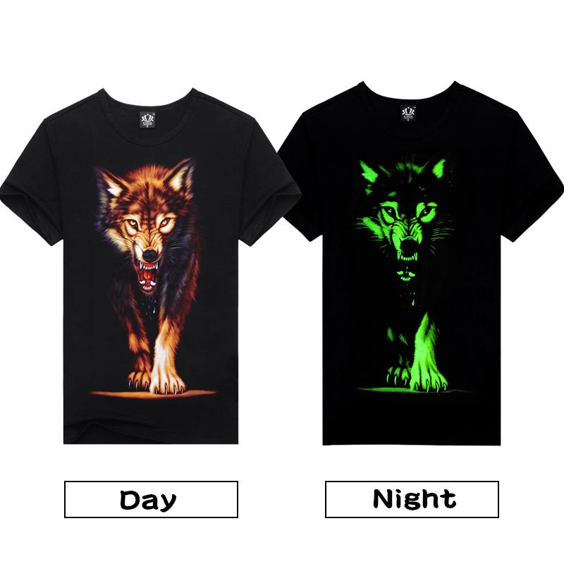 69e0537ccac0 Novelty 3D Men S Wolf T Shirt Cool Wolf Printed T Shirts Summer Casual 3D  Short Sleeve Glow In The Dark T Shirts Good Quality Awesome Tee Shirt Funny  T ...