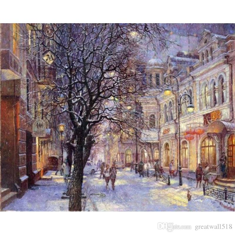 Oil painting calligraphy by numbers canvas brush figure drawing coloring by number landscape street car XC-040