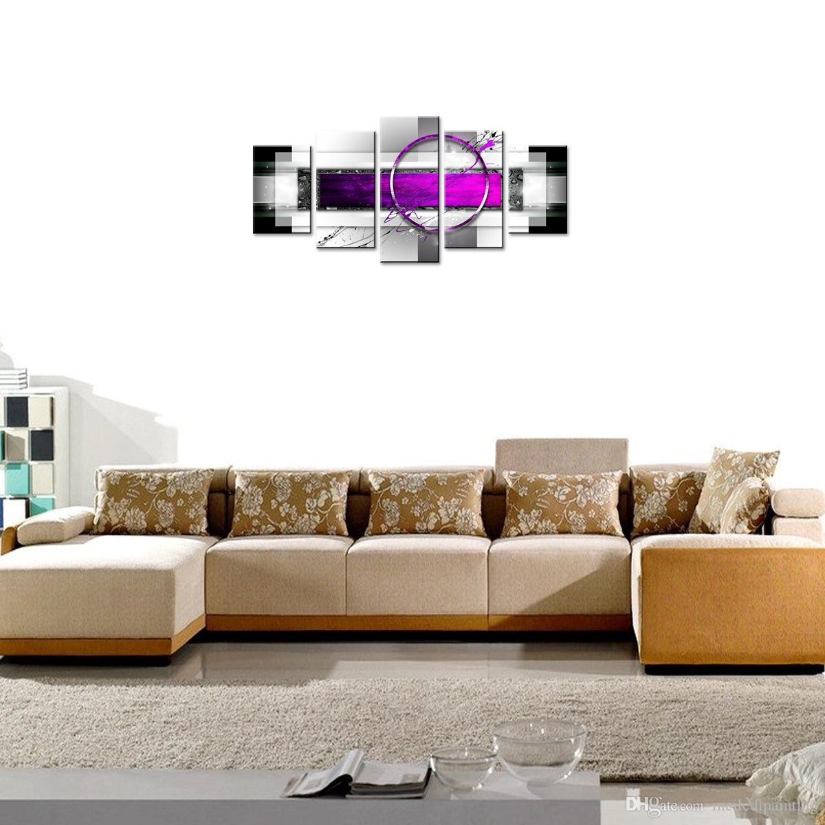 Amosi Art Canvas Painting Purple Abstract Geometric Drawing Print Art Canvas Painting Decor Artwork Framed