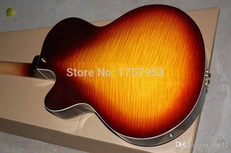 2015 china fábrica personalizada de calidad superior nueva costumbre Tiger arce Sunburst Semi Hollow L-5 Jazz guitarra eléctrica 51