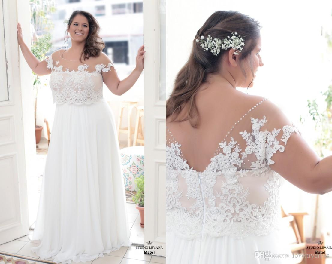 2018 Sheer Neck Boho Plus Size Wedding Dress With Sleeves