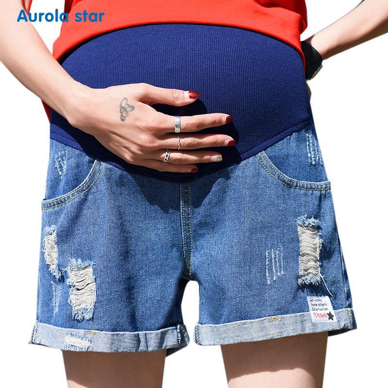 Taille Baumwolle Denim Schwangere Mode Aurola Solide Mutterschaft Frauen Hosen Star Hohe Für Bauch Jeans Heben Sommer Shorts eCodBxr