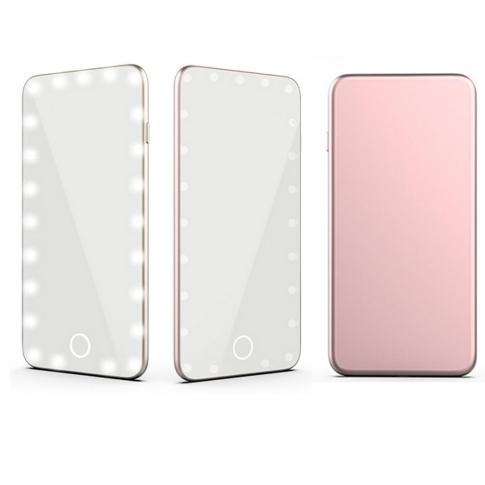huge discount fdacb 3ae46 2 Colors Mini 23Pcs LED Touch Screen Makeup Mirror Cold Light USB Portable  Pocket Cosmetic Vanity Mirror for Lady Make up