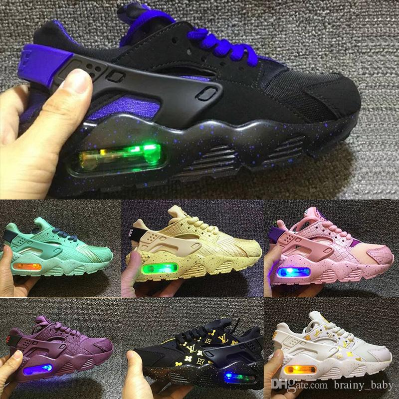 fa71fe5672cc 2018 Fashion Flash Lighted Kids Air Huarache Children Running Shoes Infant  Huaraches Outdoor Toddler Athletic Boy   Girls Sneaker 26 35 Kids Sports  Shoes ...