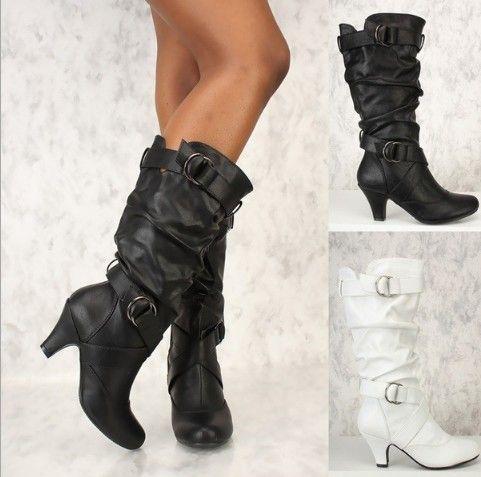 Moda mujer invierno muslo botas altas Faux Suede cuero tacones altos mujeres sobre el bloque de la rodilla hebilla de la correa de tiras zapatos