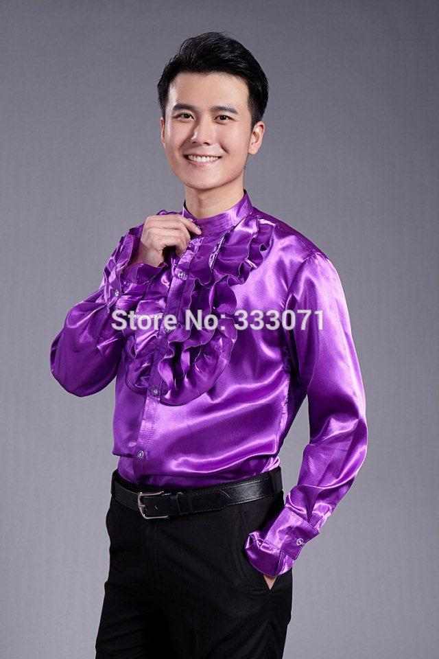 2018 2016 Purple Frilling Long Sleeved Men Shirt Wedding/Prom Groom ...