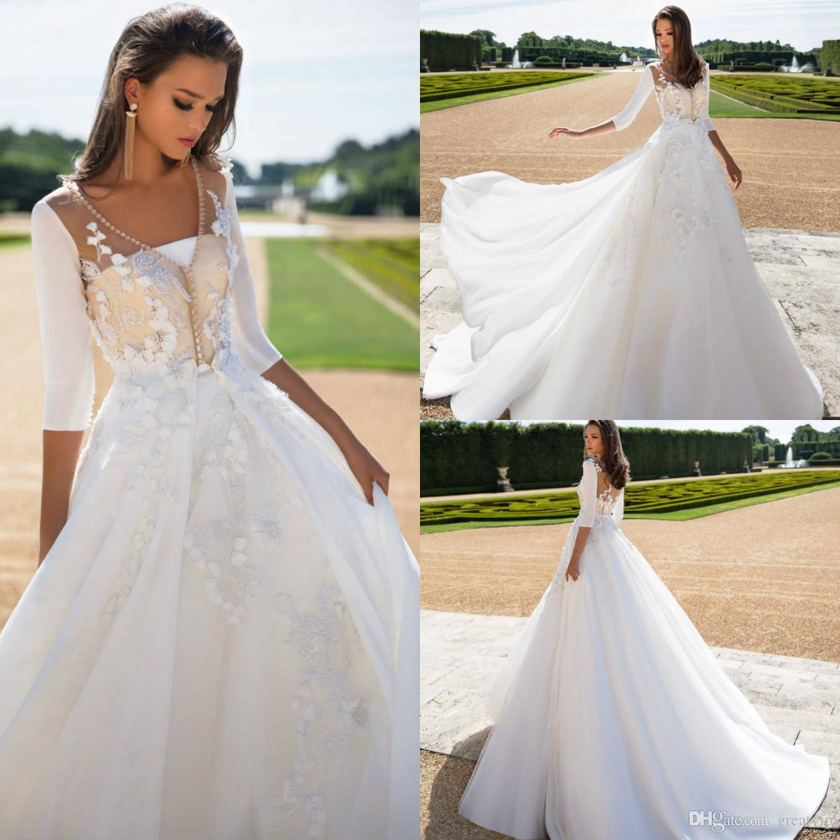 Discount Milla Nova 2019 Autumn Wedding Dresses A Line Applique Lace 34 Long Sleeve Sweep Train Plus Size Bridal Gowns Robe De Mari�e Simple: Simple Fall Themed Wedding Dresses At Websimilar.org