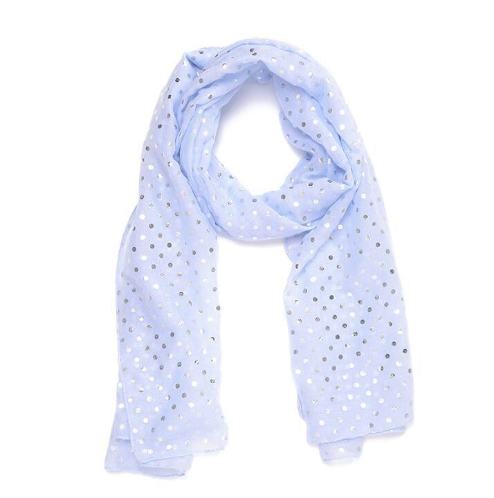 c50945a0f New Women Fashion Bronzing Scarf Pink Blue Grey White Metallic Silver Foil  Dot Long Scarf Womens Shawl Pashmina Scarf For Girls Ladies Silk Scarf Head  Scarf ...