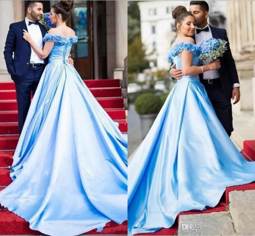 Ocean Blue and Gold Prom Dresses