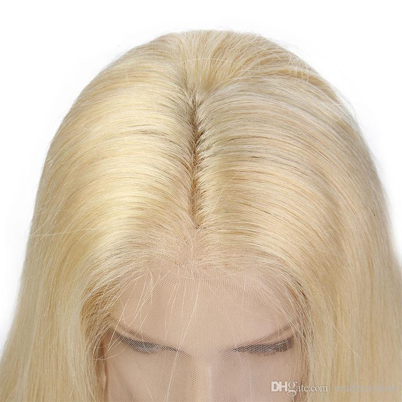 150 Dichte Brasilianische Honig Blonde Menschenhaarspitze-vordere Perücken Farbe 613 # Gerade Dicke Glueless Volle Spitze Echthaar Perücken Mit Baby haar