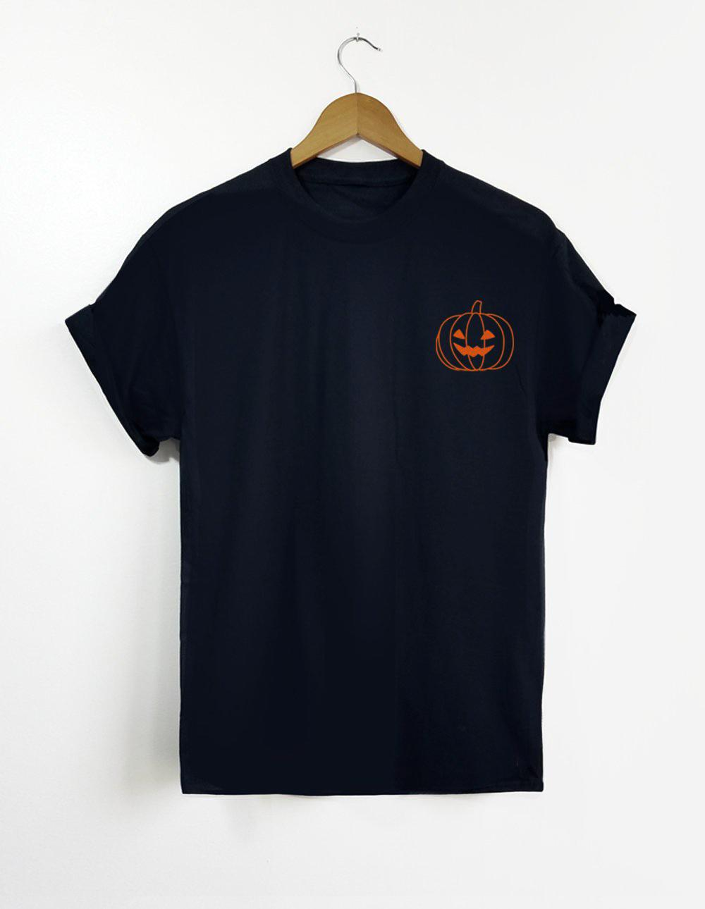 08ad0fa948f2f Women's Tee Halloween Pumpkin Pocket T-shirt Family Halloween Party Tee  Casual Style Grunge Simple Cotton Tops Black Clothes Outfits Shirts