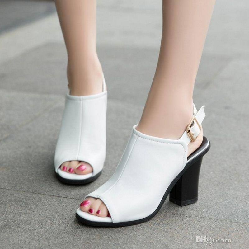SJJH 2018 Sandals with High Chunky Heel and Peep Toe Elegant Working Dressy Shoes for Fashion Woman with Large Size Available A399