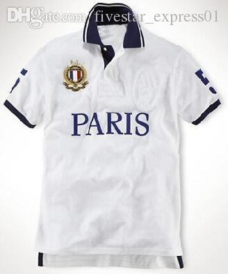 Wholesale Paris Men Polo Shirt With Horse Cotton Collar T-Shirts Sport Polos Tops Size S-XXL White Green