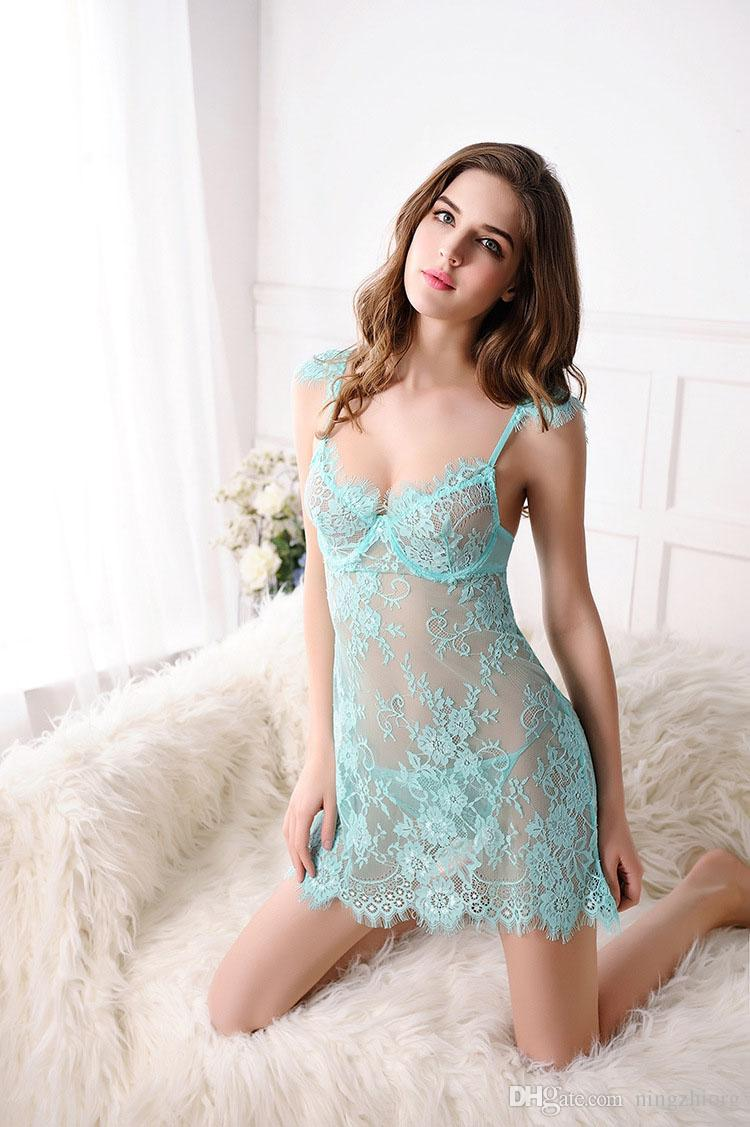 Foreign trade sex underwear manufacturers wholesale sexy deep v strap lace nightgown transparent temptation pajamas Set