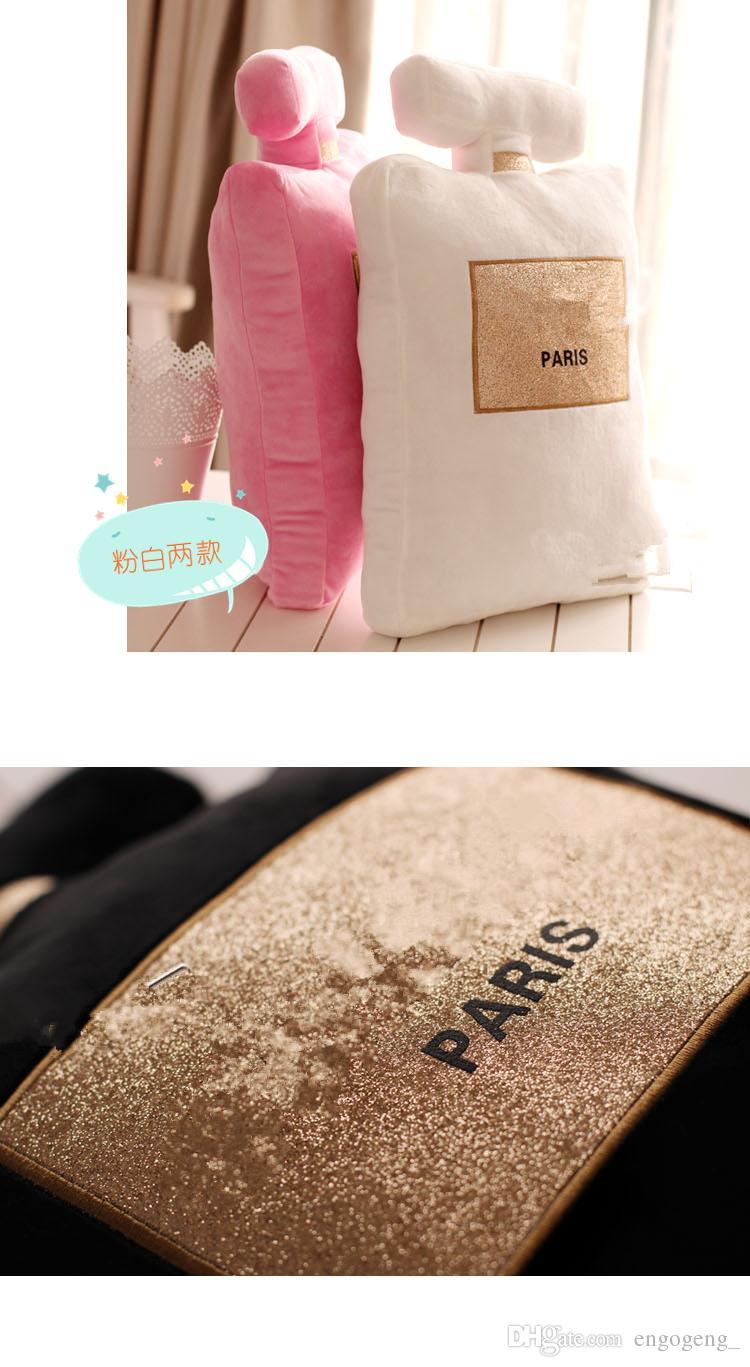 2018 Classic brand pattern cushion 50x30cm perfume bottle shape cushion black white pillow luxury fashion design logo pillow