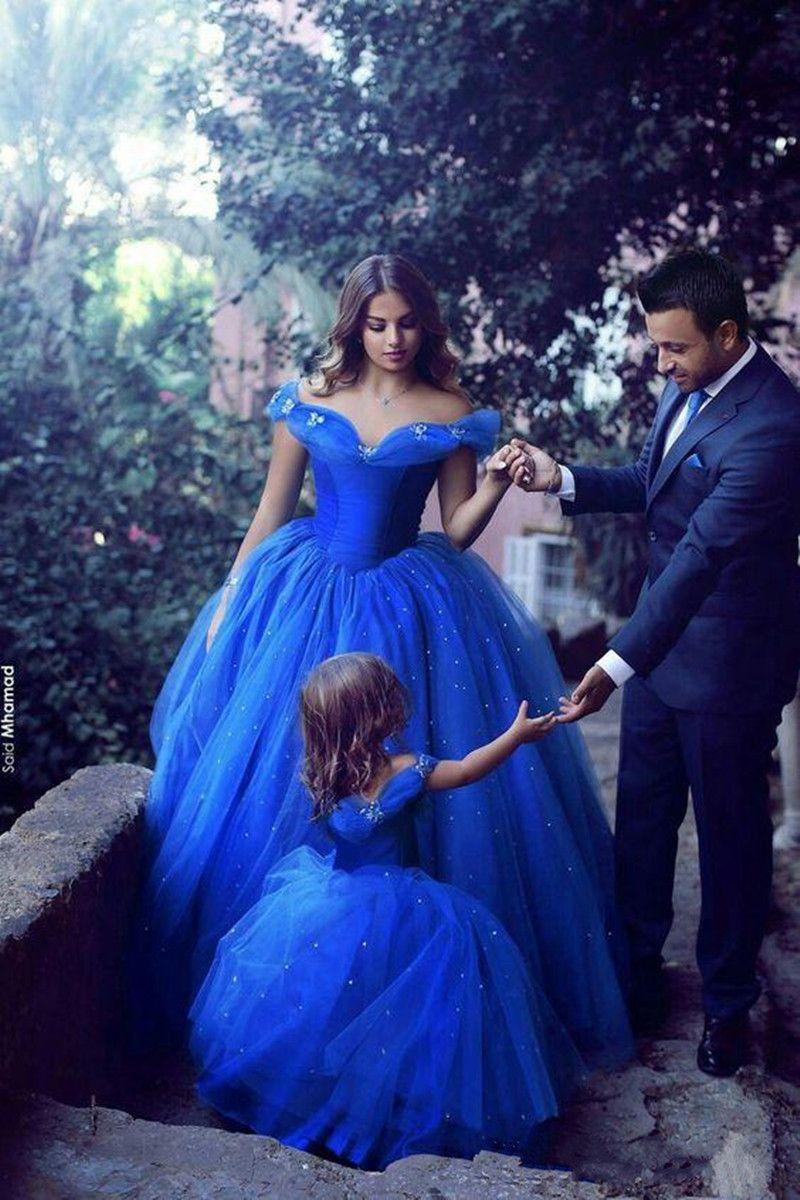 2019 New Royal Blue Princess Flower Flower Girl Dresses Pulffy Tutu Sparkly Crystals Crystals Bambini Bambina Vestito da Comunione Pageant